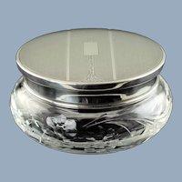Vintage Adie Brothers Sterling Silver Lidded Cut Crystal Floral Motif Dresser Powder Jar