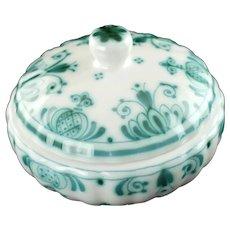 Vintage De Porceleyne Fles Royal Delft Hand Painted Delvert Green and White Lidded Dish