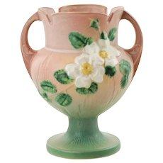 "Vintage Roseville Pottery White Rose Pink and Green 8.25"" Vase 147-8"