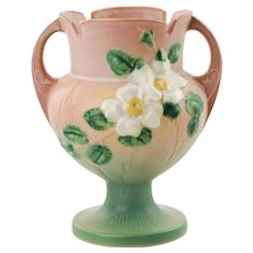 "Vintage Roseville Pottery White Rose Pink and Green 8.25"" Vase 147-8"