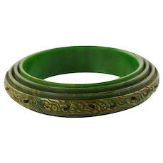 Vintage Art Deco Carved 4-Tiered Marbled Green Bakelite Bangle
