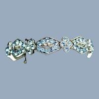 Vintage Weiss Blue Rhinestone Link Bracelet Art Deco Motif