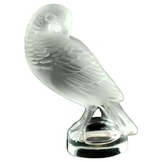 Vintage Lalique Crystal Tourterelle Preening Turtle Dove Letter Seal Paperweight