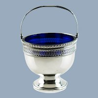 Vintage Frank M. Whiting Reticulated Sterling Silver Sugar Basket with Cobalt Glass Insert