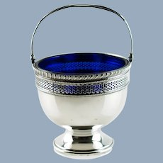Vintage Reticulated Sterling Silver Sugar Basket with Cobalt Blue Glass Insert by Frank M. Whiting Co No Monogram