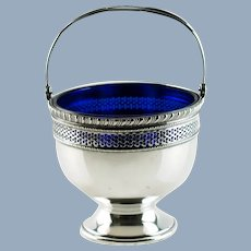 Vintage Reticulated Sterling Silver Sugar Basket with Cobalt Blue Glass Insert by Frank M. Whiting