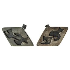 Vintage Sterling Silver Modernist Abstract Cut Out Cufflinks