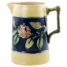 Antique English Victorian Hand Painted Majolica Pitcher Floral and Foliate Motif with Pink Interior