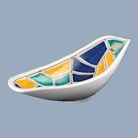 Vintage Graveren Norsk Studio Art Pottery Oval Dish with MCM Sgraffito Geometric Mosaic Motif