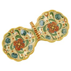 Vintage Italian Hand Painted Majolica Double Serving Tray with Loop Handle