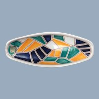 Vintage Graveren Norsk Studio Art Pottery Oval Dish with MCM Sgraffito Geometric Mosaic Motif