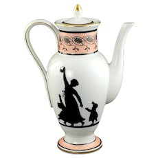 Vintage Vista Alegre Portugal for Mottahedeh Silhouette Porcelain Coffee Pot