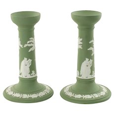 Vintage Wedgwood Sage Green Jasperware Candlesticks Featuring Greco-Roman Classical Figures
