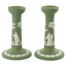 Vintage Wedgwood Sage Green Jasperware Candlesticks Featuring Greco-Roman Classical Figures