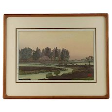 Vintage Toshi Yoshida Original Shin-hanga 'Morinji in Spring' Woodblock Print in Teak Frame