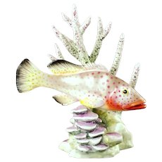 Vintage Ronald van Ruyckevelt for Royal Worcester Red Hind Fish with Coral 3572