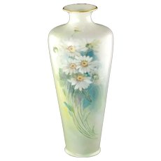 Antique Lenox Belleek Hand Painted Lustre Daisy Motif Vase with Gilt Rim