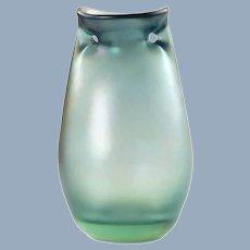 Vintage Dominick Labino Iridescent Hand Blown Art Glass Double Handled Vase