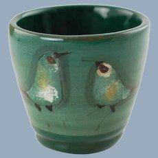 Vintage Polia Pillin Hand Painted Studio Art Pottery Vase Bird Motif