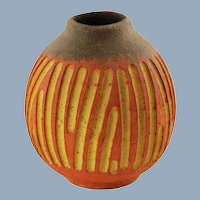 Vintage Marcello Fantoni for Raymor Italy Orange and Yellow Vase with Grooved Decoration
