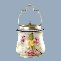 Antique Wiltshaw & Robinson Carlton Ware Camellia Floral Motif Blushware Biscuit Barrel