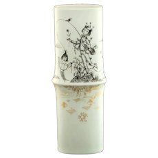 Vintage Raymond Peynet for Rosenthal Studio Linie Tapio Wirkkala Gilt Porcelain Vase Fisherman and Mermaid Motif
