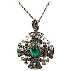 Vintage 1000 Pure Silver Jerusalem Crusaders Cross Pendant with Granulation Wirework and Green Cabochon