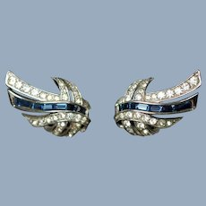 Vintage Marcel Boucher Signed Blue Baguette and Pave Set Clear Rhinestone Rhodium Plated Clip Back Earrings