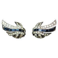 Vintage Marcel Boucher Signed Blue Baguette and Pave Set Clear Rhinestone Clip Back Earrings
