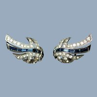 Vintage Marcel Boucher Signed Blue Baguette and Rhinestone Clip Back Earrings