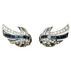 Vintage Marcel Boucher Signed Blue Baguette and Rhinestone Clip Back Earrings