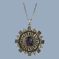 Vintage Los Ballesteros Sterling Silver Carved Amethyst Medallion Pendant and Necklace