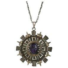 Vintage Los Ballesteros Sterling Silver Carved Amethyst Medallion Pendant and Necklace