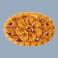 Large Vintage Hand Carved Bakelite Oval Brooch Floral Motif