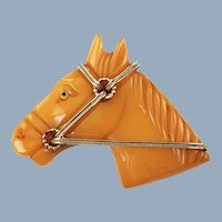 Vintage Hand Carved Butterscotch Bakelite Horse Head Brooch Pin