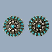 Vintage Zuni Petit Point Natural Turquoise Old Pawn Sterling Silver Cluster Earrings