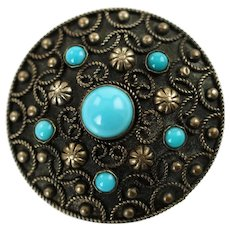 Vintage Navajo Beaded Sterling Silver and Turquoise Cabochon Domed Brooch Pin with Twisted Wire Detail