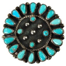 Vintage Signed Zuni Turquoise Cluster Petit Point Teardrop and Snake Eye Pendant Brooch