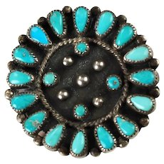 Vintage Signed Zuni Turquoise Cluster Petit Point Teardrop and Snake Eye Convertible Pendant Brooch Pin by LC