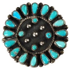 Vintage Signed Zuni Turquoise Cluster Petit Point Teardrop and Snake Eye Pendant Brooch Pin