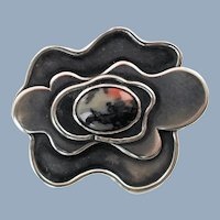 Vintage Shoulberg Modernist Sterling Silver Floriform Brooch with Agate Cabochon