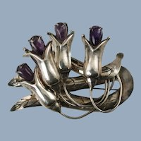 Large Vintage Mexican Silver Brooch Pin with Amethyst Cabochon Flowers Book Piece