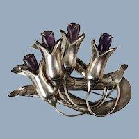 Large Vintage Valentin Vidaurreta Silver Brooch Pin with Amethyst Cabochon Flowers