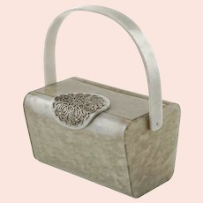 Vintage Wilardy Marbleized Gray Pearl Lucite Purse with Large Silver Tone Filigree