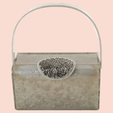 Vintage Wilardy Marbleized Gray Pearl Lucite Purse with Large Silver Tone Filigree Medallion Clasp and Original Mirror