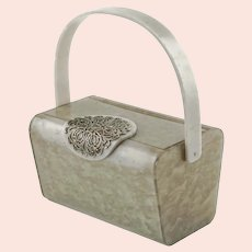 Vintage Wilardy Marbleized Gray Pearl Lucite Purse with Silver Tone Filigree Medallion Clasp