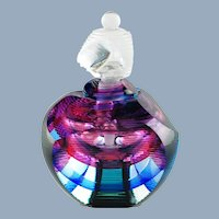 Vintage Kit Karbler and Michael David Prismatic Contemporary Art Glass Perfume Bottle