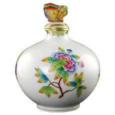 Vintage Herend Queen Victoria Porcelain Perfume Bottle with Butterfly Finial