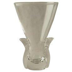 Vintage Clear Crystal Signed Steuben Lyre Vase Designed by Lloyd Atkins