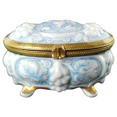 Vintage Hand Painted Floral Continental Porcelain Footed Trinket Box Signed E. Alonso ARM